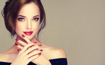 стиль, девушка, улыбка, взгляд, руки, макияж, прическа, ресницы, маникюр