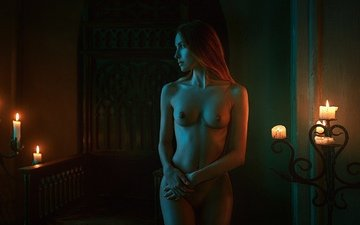 candles, girl, photo, pose, look, chest, figure, tits, naked