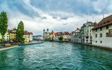 вода, город, швейцария, дома, улица, набережная, площадь, люцерн, река ройс