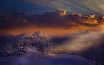 облака, горы, снег, природа, лес, зима, пейзаж, туман, дом, италия, альпы, ter