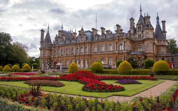 flowers, grass, park, the bushes, the city, england, palace, lawn, waddesdon manor