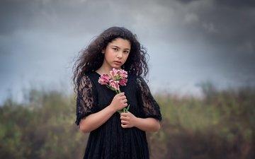 flowers, clouds, look, girl, hair, bouquet, face, black dress
