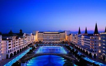 ночь, огни, город, турция, гостиница, mardan palace, анталия