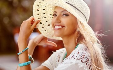 decoration, girl, blonde, smile, hat, bracelets