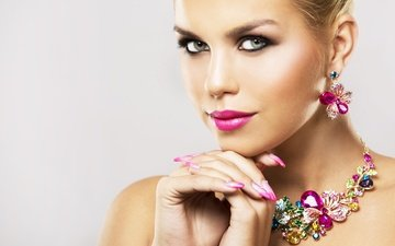 decoration, girl, look, makeup, lipstick, eyelashes, necklace, manicure, earrings