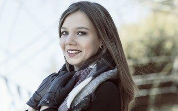 улыбка, взгляд, модель, волосы, перчатки, шарф