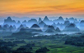 небо, облака, деревья, горы, холмы, природа, пейзаж, утро, туман, поле, китай, долина, плато