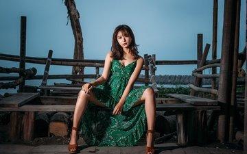 вечер, платье, взгляд, азиатка