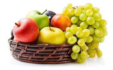 grapes, fruit, apples, basket