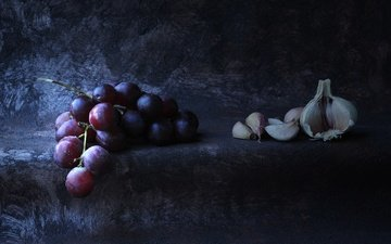 grapes, bunch, still life, garlic