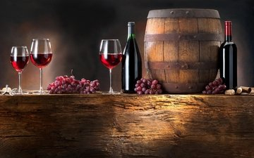 grapes, wine, barrel