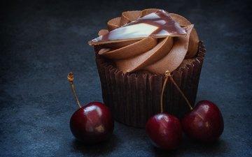 cherry, cake, cream, cupcake