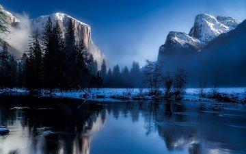 деревья, вода, горы, скалы, снег, природа, лес, зима, туман, рассвет, сша, калифорния, йосемитский национальный парк, деревья
