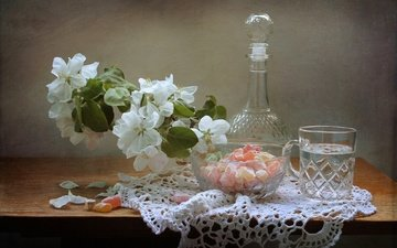 water, candy, glass, still life, pear