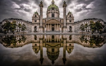 water, reflection, austria, church, vienna, karlsplatz