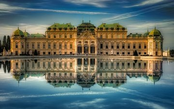 water, reflection, austria, vienna, belvedere