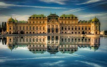 вода, отражение, австрия, вена, бельведер