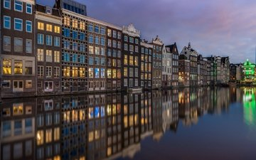вода, отражение, канал, дома, здания, нидерланды, амстердам