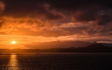 небо, облака, вода, солнце, природа, берег, закат, море, канада, британская колумбия, остров ванкувер