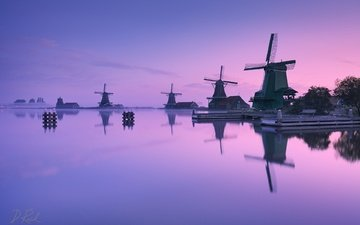 water, reflection, morning, fog, mill, holland