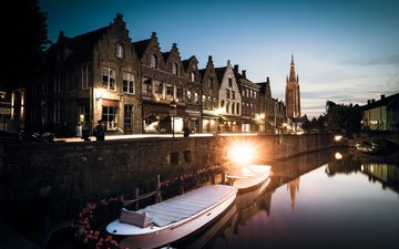 water, the evening, boats, channel, home, promenade, building, twilight, belgium, west-flanders, bruges