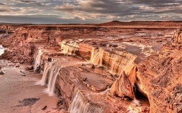 небо, скалы, тучи, водопад, каньон, сша, аризона, гранд-фоллс