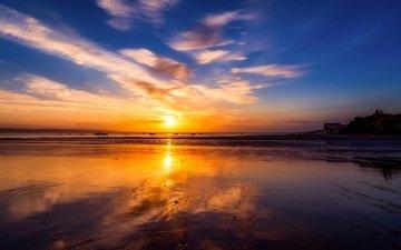 небо, облака, восход, солнце, пляж, горизонт