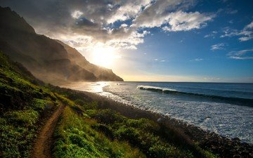 облака, горы, восход, природа, берег, волны, море, тропинка, океан, тропа, солнечный свет