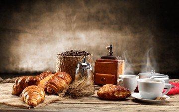 coffee, coffee beans, cakes, croissants