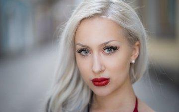 girl, blonde, look, model, hair, lips, face, lipstick