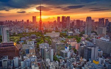 sunset, panorama, the city, japan, tower, home, tokyo, iaponiia