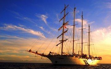 sunset, sea, ship, sailboat, sailing ship