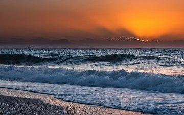 закат, море, пляж, волна