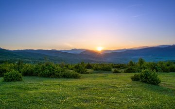 hills, nature, sunset, landscape, field, summer
