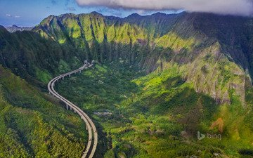 road, mountains, nature, landscape, gorge, highway, hawaii, bing, the island of oahu