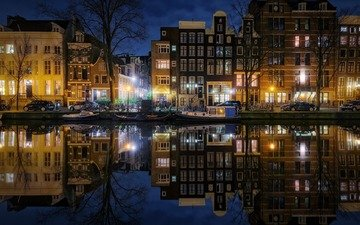 night, lights, reflection, the city, netherlands, amsterdam