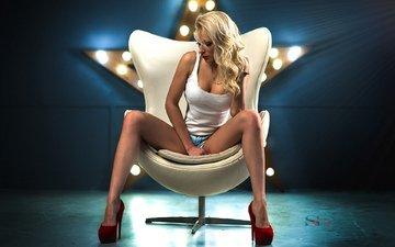 girl, blonde, model, chair, red lipstick, neckline, sitting, denim shorts, yulia, high heels