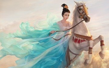 art, horse, girl, fantasy, rider, asian princess