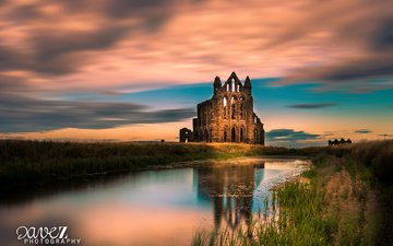 river, the ruins, landscape, uk, ruins, england, abbey, yorkshire