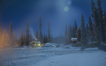 night, trees, snow, nature, forest, winter, house, sweden, lapland