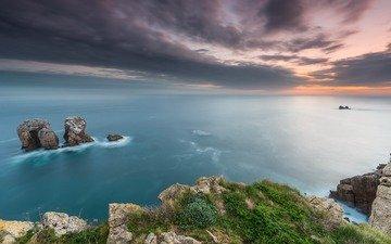 небо, скалы, природа, берег, закат, пейзаж, море