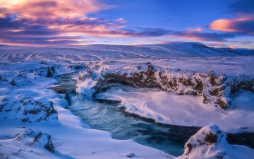 the sky, clouds, river, snow, winter, landscape, ice