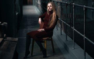 девушка, платье, стул, сидит, наташа, макс кузин