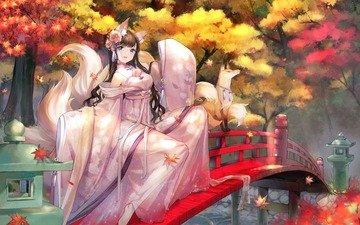 арт, листья, девушка, мост, аниме, лиса, ушки, хвост, sheska xue
