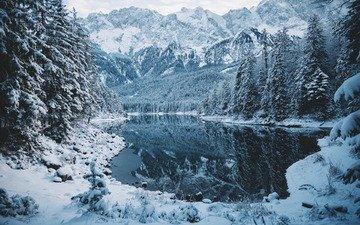 озеро, горы, снег, природа, лес, зима