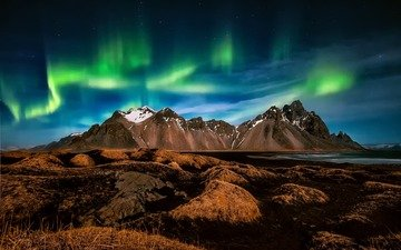the sky, night, mountains, landscape, stars, beach, northern lights, iceland, cape, the fjord, have stoknes, hornafjordur