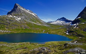 lake, mountains, nature, landscape, norway