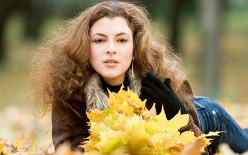 листья, девушка, взгляд, осень, волосы, лицо