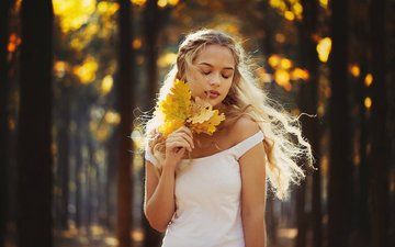 leaves, girl, blonde, autumn, model, posing, closed eyes