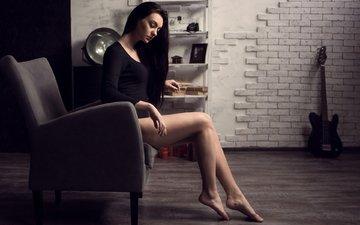 девушка, ножки, кресло, длинные волосы, alex zakharov